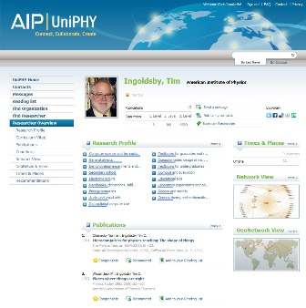 American Institute of Physics' UniPHY Social Network for Physicists