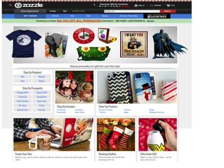 Zazzle.com Christmas Home Page