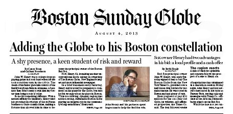 Front Page of Boston Globe Announcing John Henry as New Owner