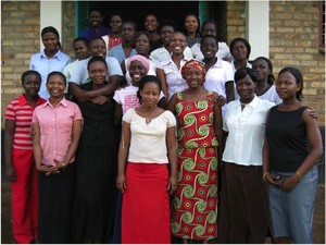 The first class of students who joined the African Rural University in 2006.