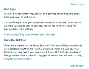 "klm.com ""Read more about taking a golf bag"""