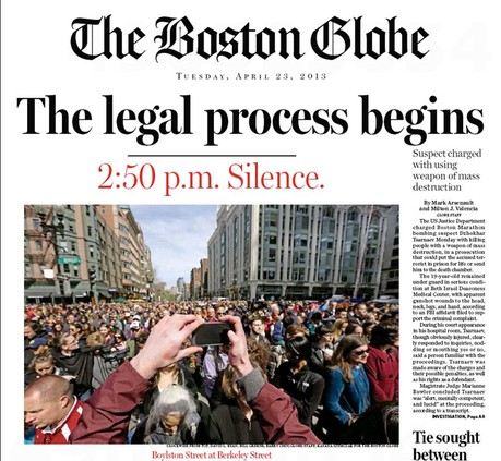The Boston Globe covering the Boston Marathon bombing