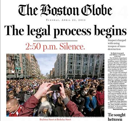 The Boston Globe covering the Boston Marathon bombing