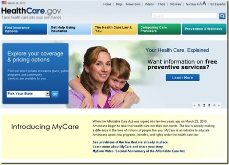 Original Healthcare.gov Site Design