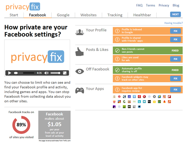 PrivacyFix Screenshot